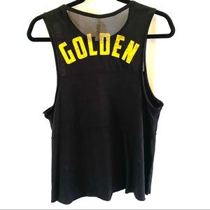 Free People Black Golden Muscle Tank Size Small